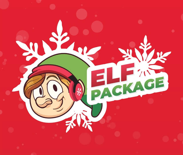 Red background with an elf drawing and words saying elf package