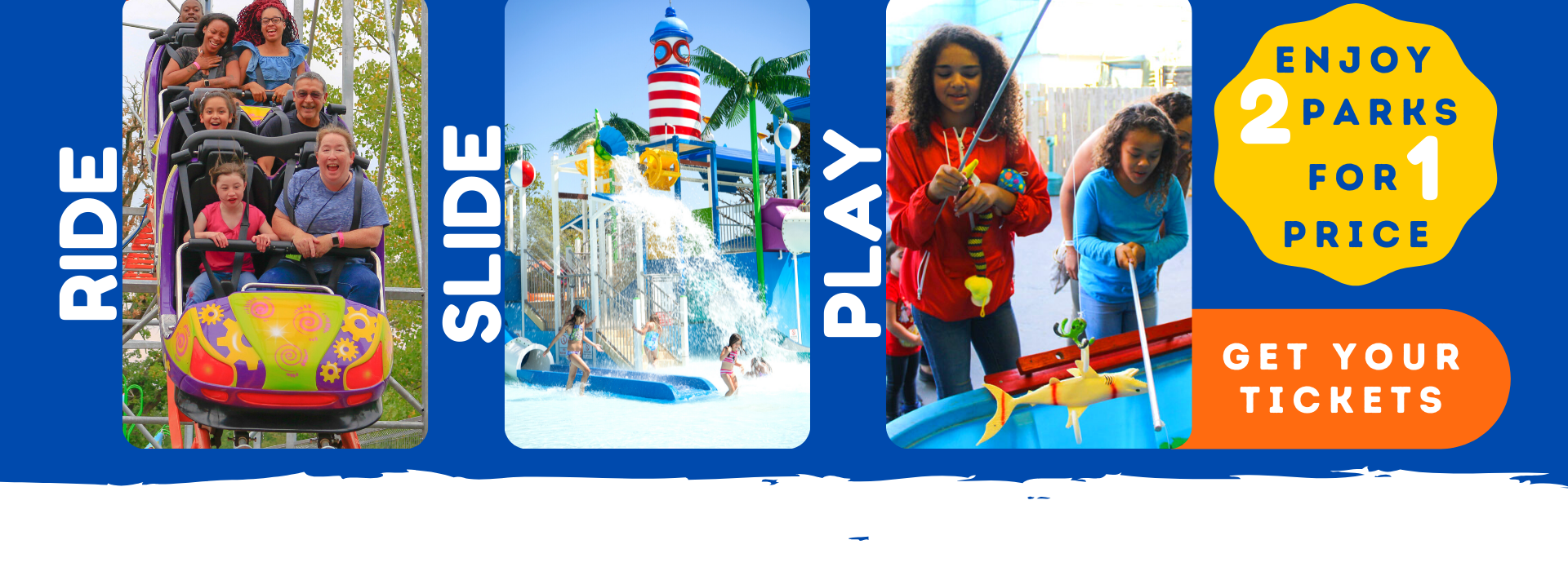 Banner saying Ride Slide Play - 2 Parks For 1 Price