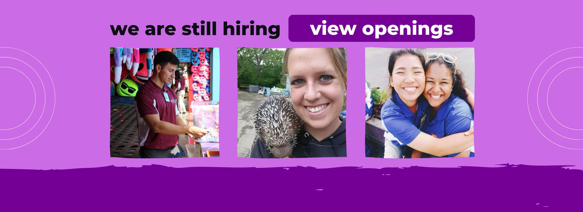 Banner reading still hiring view openings