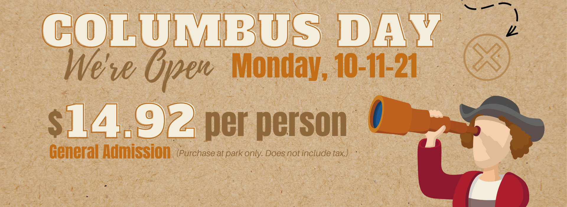 Banner reading Columbus Day promotion.